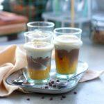 Verrines toutes végétales à la courge épicée, crèmes rhum-vanille et cacao
