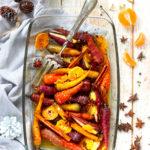 Légumes rôtis aux épices douces et à la clémentine, chapelure express aux fruits secs