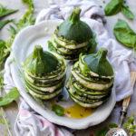 Fresh & healthy : mon millefeuille de courgettes crues à la ricotta d'okara et au pesto pistache-menthe