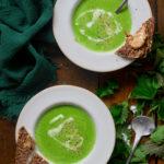 Ma soupe express à la vapeur : orties, chanvre et petits-pois